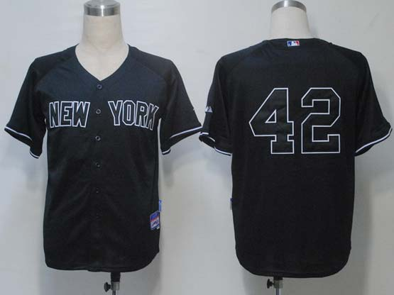 mens mlb new york yankees #42 rivera black Jersey(no name)