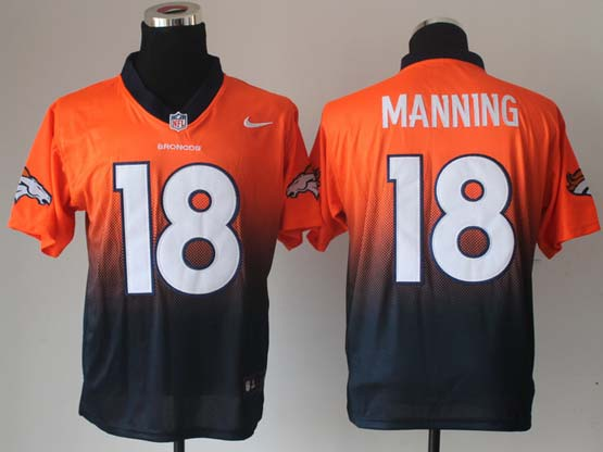 Mens Nfl Denver Broncos #18 Manning Orange&blue Drift Fashion Ii Elite Jerseys