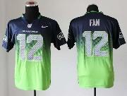 Mens Nfl Seattle Seahawks #12 Fan Blue&green Drift Fashion Ii Elite Jersey