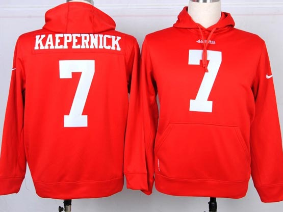 mens nfl San Francisco 49ers #7 Colin Kaepernick red hoodie jersey