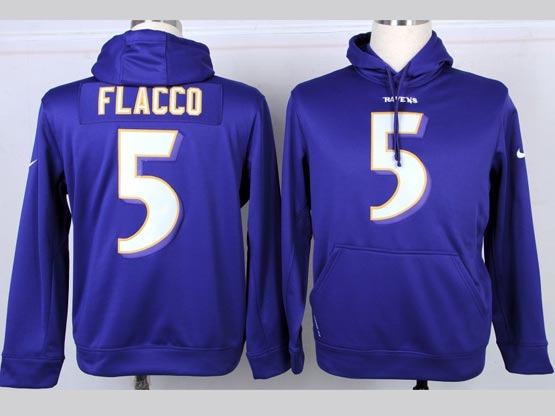 Mens Nfl Baltimore Ravens #5 Joe Flacco Purple Hoodie Jersey