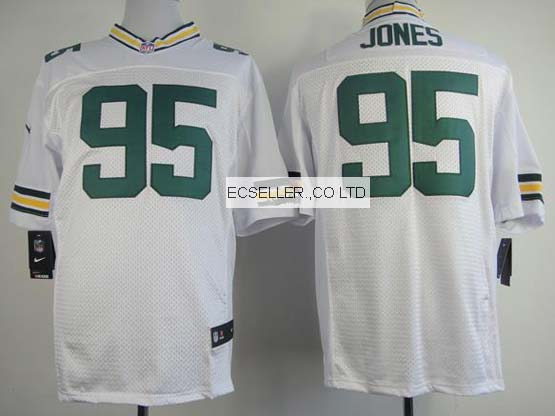 Mens Nfl Green Bay Packers #95 Jones White Elite Jersey