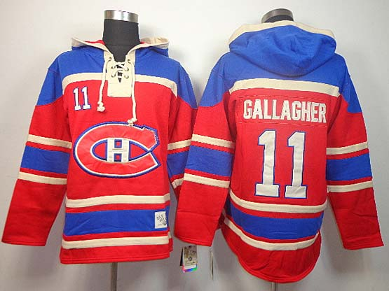 Mens nhl montreal canadiens #11 gallagher red hoodie Jersey