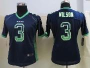 Women  Nfl Seattle Seahawks #3 Wilson Blue Drift Fashion Elite Jersey