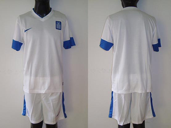 mens 13-14 soccer greece national team (blank) white away Suit Jersey