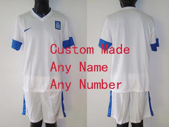 Mens 13-14 Soccer Greece National Team (custom Made) White Away Jersey Set
