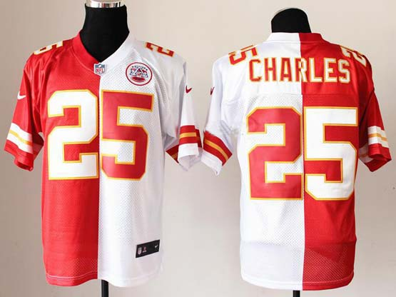 Mens Nfl Kansas City Chiefs #25 Charles White&red Split Elite Jersey