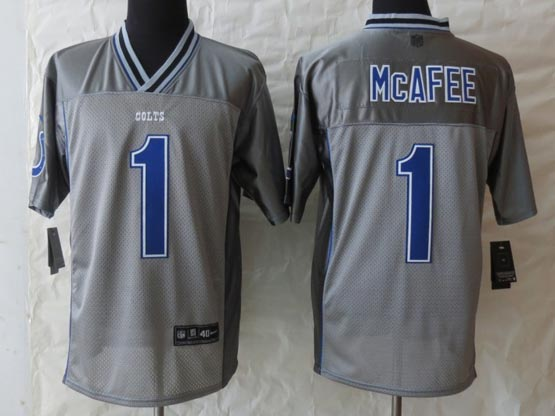 Mens Nfl Indianapolis Colts #1 Mcafee Gray Vapor (2013 New) Elite Jersey