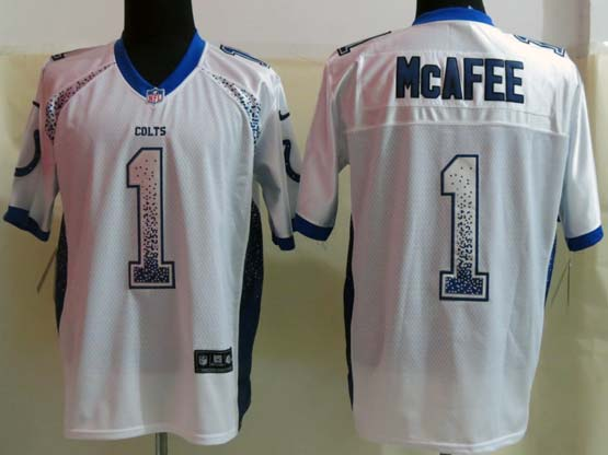 Mens Nfl Indianapolis Colts #1 Mcafee Drift Fashion White Elite Jersey