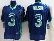 Mens Nfl Seattle Seahawks #3 Wilson Drift Fashion Dark Blue Elite Jersey