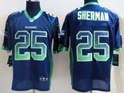 Mens Nfl Seattle Seahawks #25 Sherman Drift Fashion Dark Blue Elite Jersey