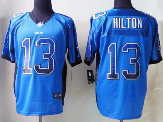 Mens Nfl Indianapolis Colts #13 Hilton Drift Fashion Blue Elite Jersey