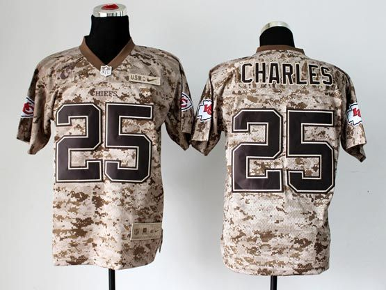 Mens Nfl Kansas City Chiefs #25 Charles Camo Us Mccuu Jersey