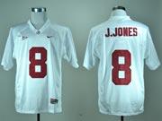 Mens NCAA NFL Alabama Crimson #8 J.JONES WHITE JERSEY