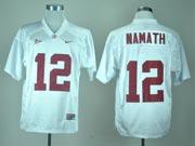 Mens NCAA NFL Alabama Crimson #12 NAMATH WHITE JERSEY
