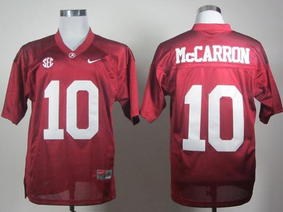 Mens Ncaa Nfl Alabama Crimson #10 Mccarron Red Sec Elite Jersey Gz