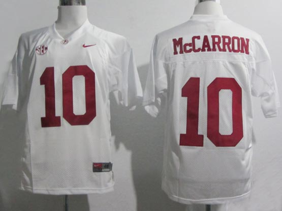 Mens Ncaa Nfl Alabama Crimson #10 Mccarron White Sec Elite Jersey Gz