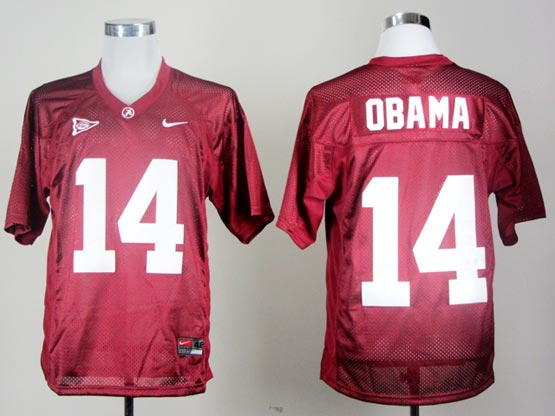 Mens Ncaa Nfl Alabama Crimson #14 Obama Red Jersey Gz