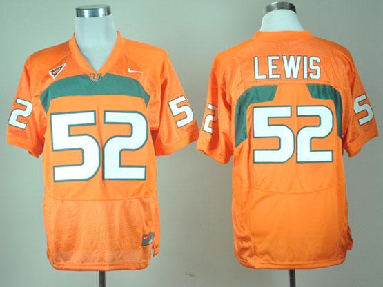 Mens Ncaa Nfl Miami Hurricanes #52 Lewis Orange Jersey Gz