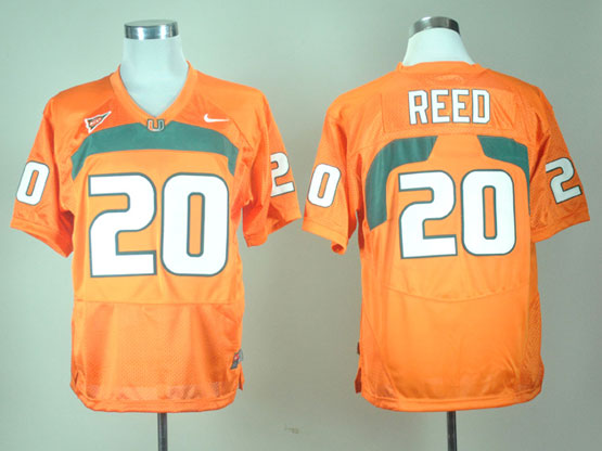 Mens Ncaa Nfl Miami Hurricanes #20 Reed Orange Jersey Gz