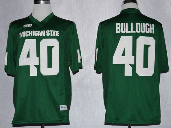Mens Ncaa Nfl Michigan State Spartans #40 Bullough Full Green Jersey Gz