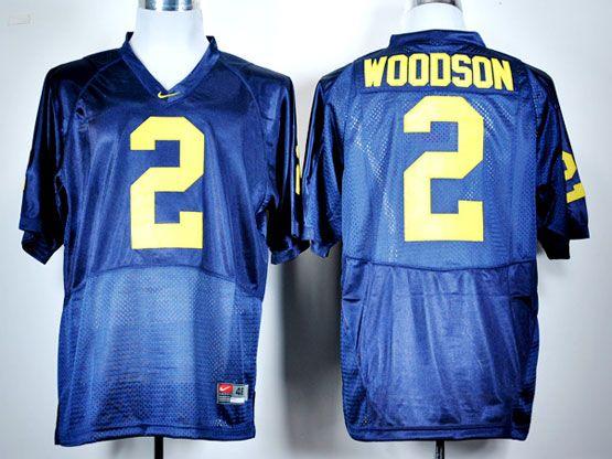 Mens NCAA NFL Michigan Wolverines #2 WOODSON BLUE JERSEY