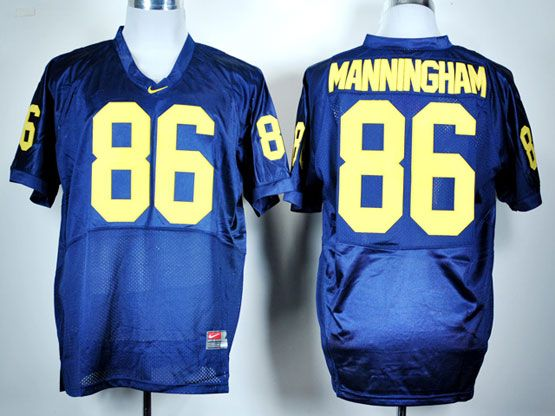Mens Ncaa Nfl Michigan Wolverines #86 Manningham Blue Jersey