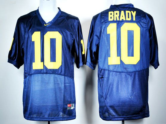 Mens Ncaa Nfl Michigan Wolverines #10 Brady Blue Jersey