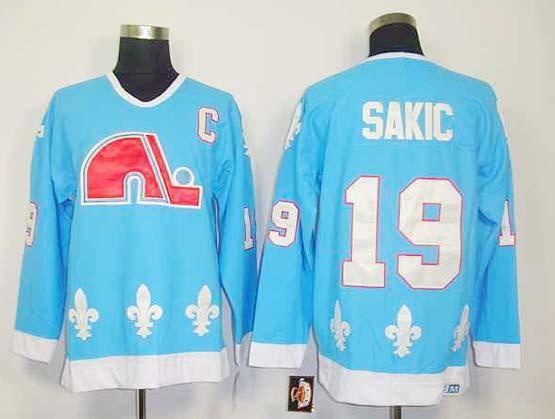 mens nhl quebec nordiques #19 sakic Light Blue vintage throwbacks jersey