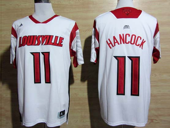 Mens Ncaa Nba Louisville Cardinals #11 Hancock White Jersey Gz