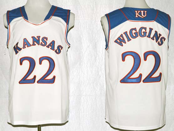 Mens Ncaa Nba Kansas Jayhawks #22 Wiggins White Jersey Gz