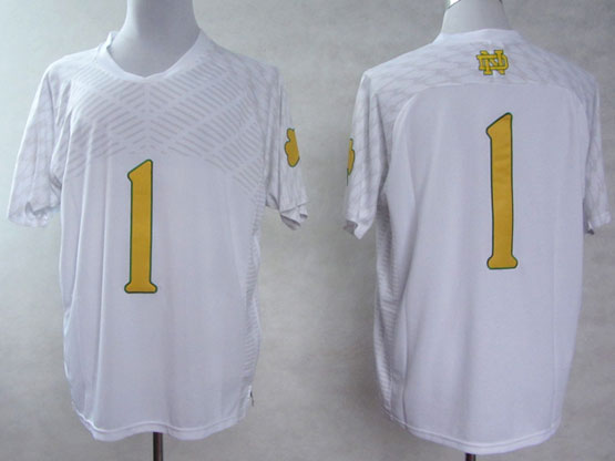 Mens Ncaa Nfl Notre Dame #1 Nix Iii White (yellow Number) Jersey Gz