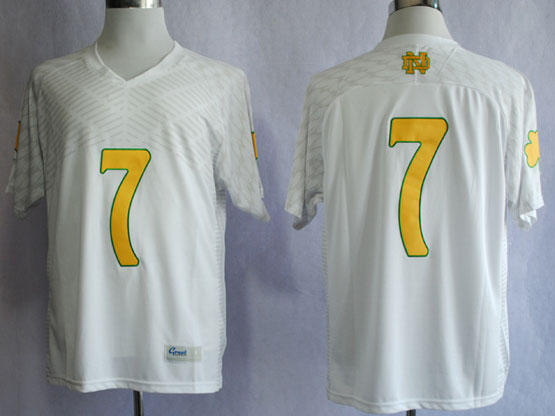 Mens Ncaa Nfl Notre Dame #7 Tuitt White (yellow Number) Jersey Gz