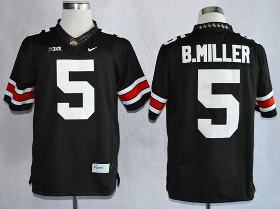 Mens Ncaa Nfl Ohio State Buckeyes #5 B.miller Black (white Number Collar Diamond) Limited Jersey