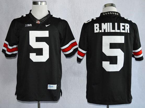 Mens Ncaa Nfl Ohio State Buckeyes #5 B.miller Black (white Number Collar Diamond) Limited Jersey