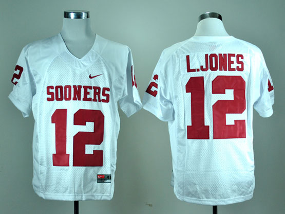 Mens Ncaa Nfl Oklahoma Sooners #12 L.jones White Elite Jersey Gz