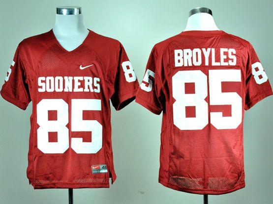 Mens Ncaa Nfl Oklahoma Sooners #85 Broyles Red Elite Jersey Gz