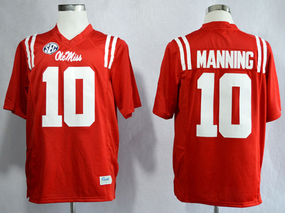 Mens Ncaa Nfl Ole Miss Rebels #10 Manning Red Limited Jersey Gz