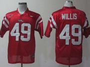 Mens Ncaa Nfl Ole Miss Rebels #49 Willis Red Elite Jersey Gz
