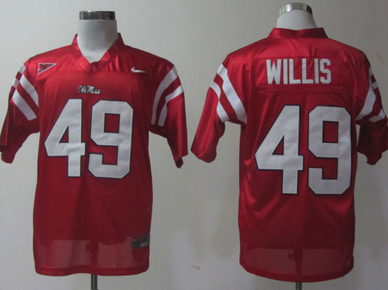 Mens Ncaa Nfl Ole Miss Rebels #49 Willis Red Elite Jersey Gz