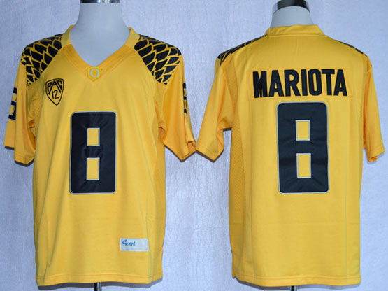 Mens Ncaa Nfl Oregon Ducks #8 Mariota Yellow Limited Jersey Gz
