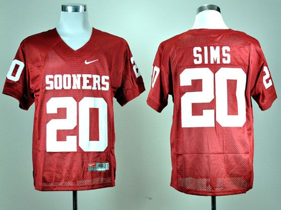 Mens Ncaa Nfl Oklahoma Sooners #20 Sims Red Elite Jersey Gz