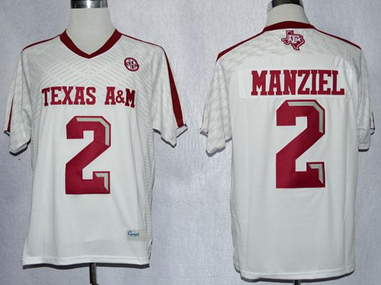 Mens Ncaa Nfl Texas A&m Aggies #2 Manziel White (2013) Jersey Gz