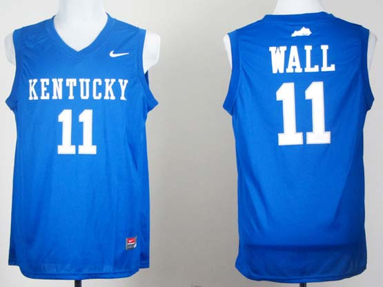 Mens Ncaa Nba Kentucky Wildcats #11 John Wall Blue Jersey Gz