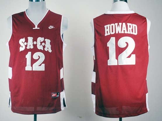 Mens Ncaa Nba Saca High School #12 Dwight Howard Red Jersey Gz