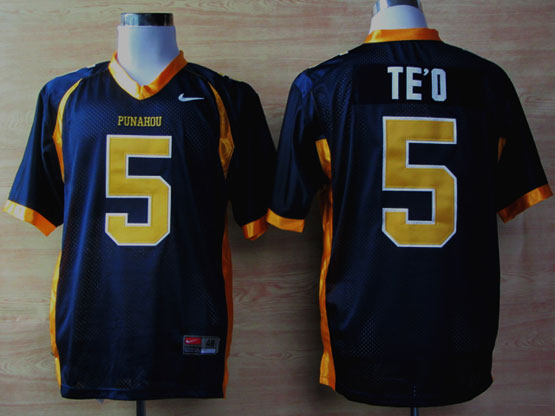 Mens Ncaa Nfl Punahou High School #5 Te'o Blue Elite Jersey Gz