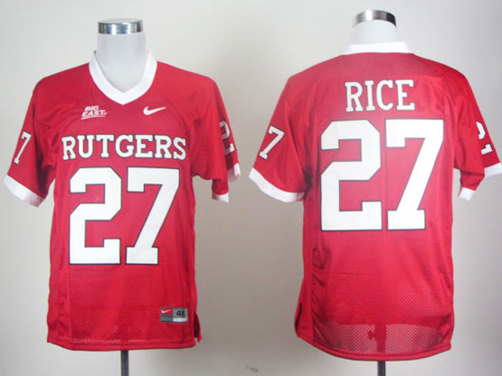 Mens Ncaa Nfl Rutgers Scarlet Knights #27 Rice Red (big East) Elite Jersey Gz