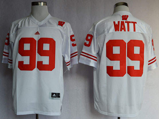 Mens Ncaa Nfl Wisconsin Badgers #99 Watt White Jersey Gz