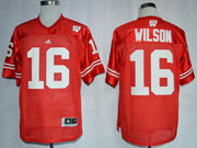 Mens Ncaa Nfl Wisconsin Badgers #16 Wilson Red Jersey Gz