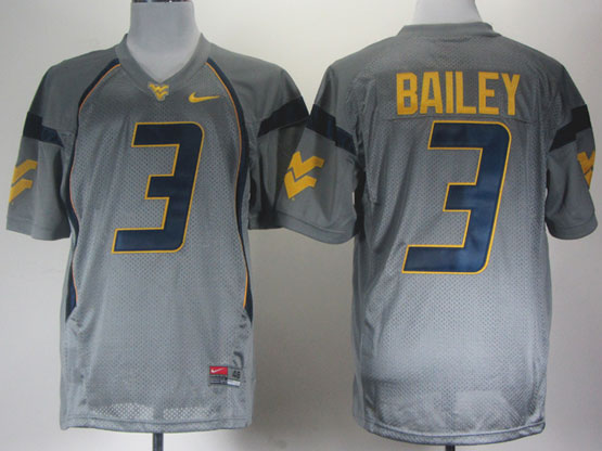 Mens Ncaa Nfl Virginia Mountaineers #3 Bailey Gray Jersey Gz